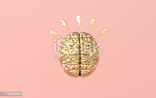 3d brain rendering illustration template background. The concept of intelligence, brainstorm, creative idea, human mind, artificial intelligence.