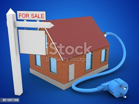 3d illustration of bricks house over blue background with power cable and sale sign
