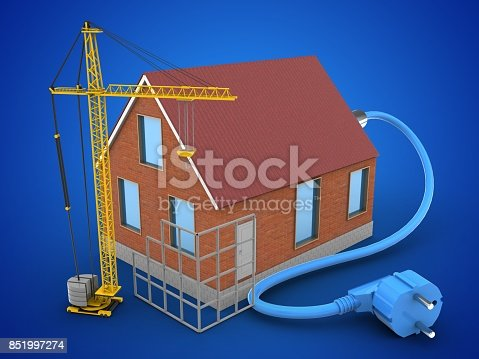 3d illustration of bricks house over blue background with power cable and construction site