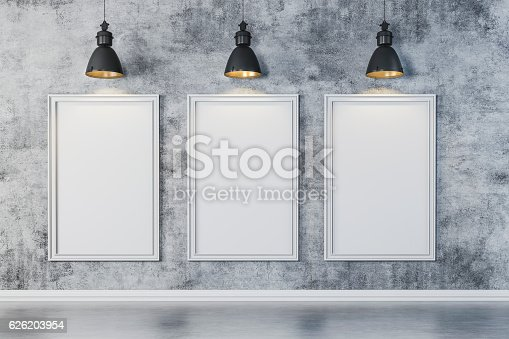istock 3d bright interior setup with ceiling lamp and blank frame 626203954