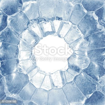 3d Broken Blue Ice Background Square Hole Frame Stock Photo & More ...