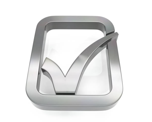 3d brushed metal check icon 3d brushed metal check icon over white background approbation stock pictures, royalty-free photos & images