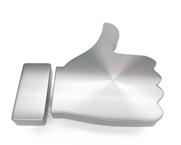 3d brushed metal thumb up icon 3d brushed metal thumb up icon over white background approbation stock pictures, royalty-free photos & images