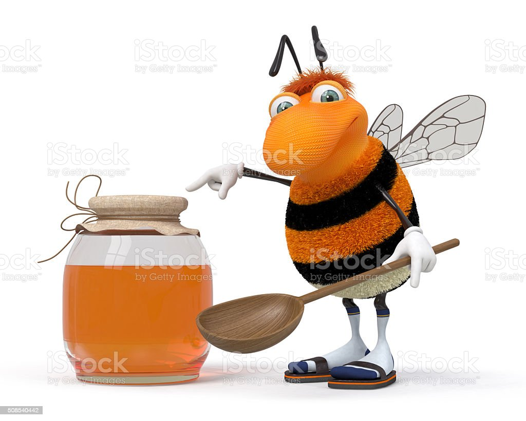 3d bumblebee with a honey can stock photo