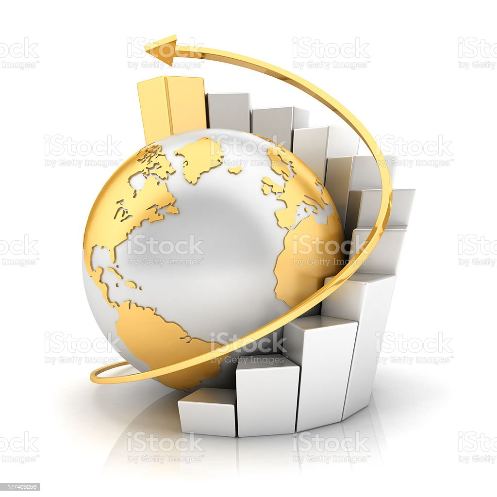 3d business earth with bar chart stock photo