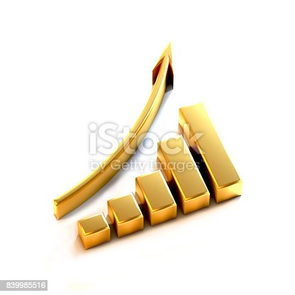 1014755036 istock photo 3d Business Growth Bar Graph Curve. Rendering illustration 839985516