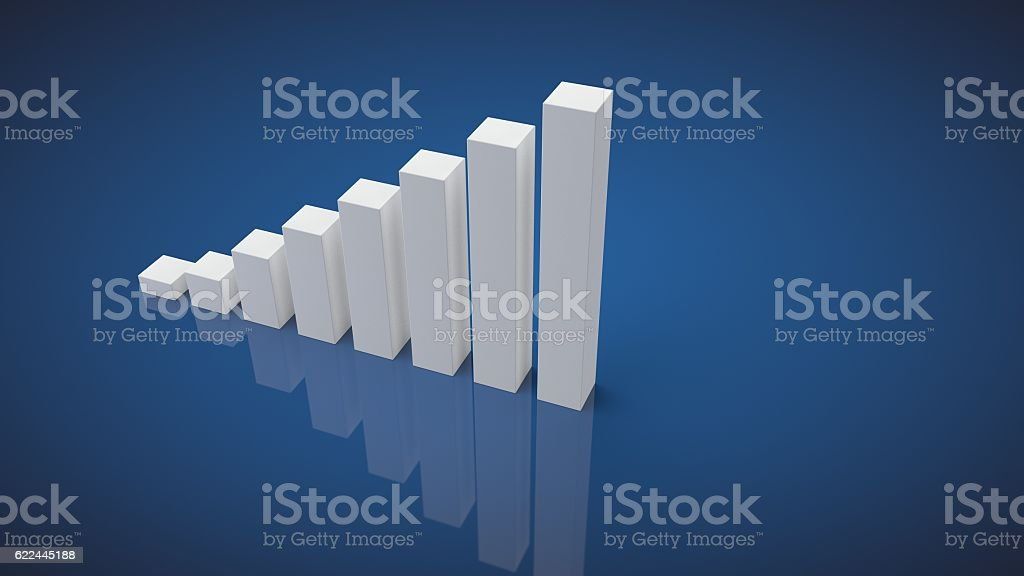 3d business growth bar graph with copyspace stock photo