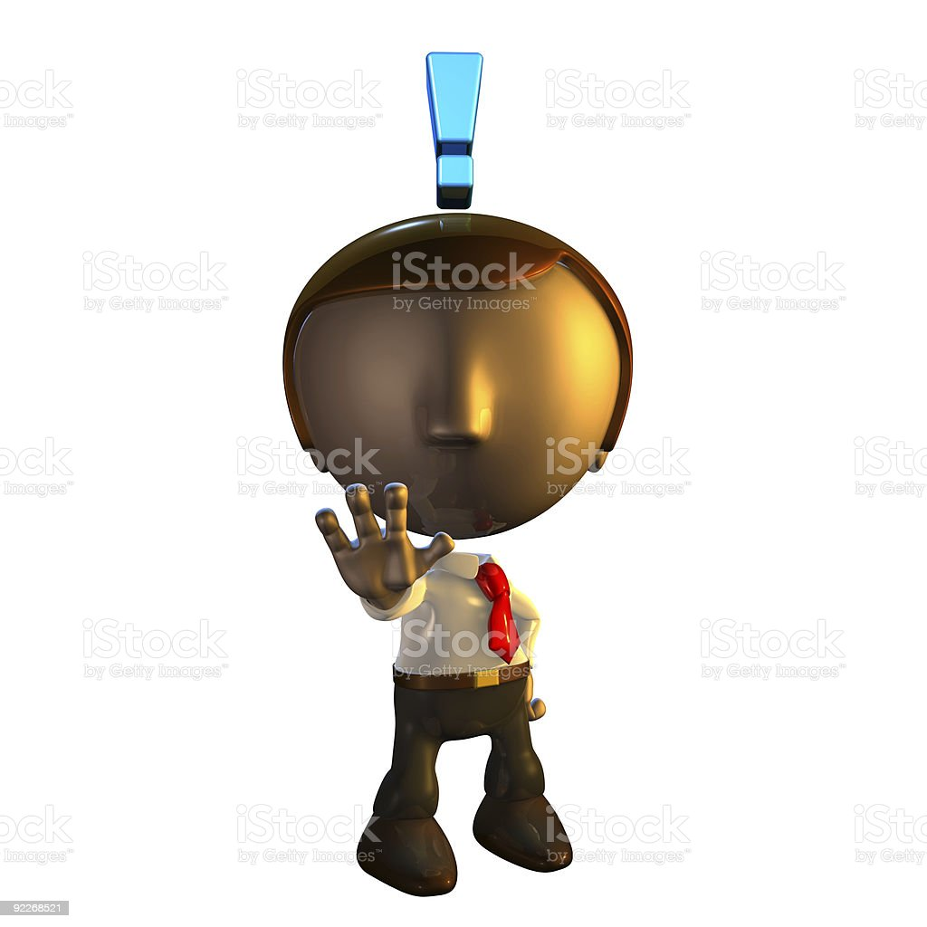 3d business man character with exclamation mark royalty-free stock photo