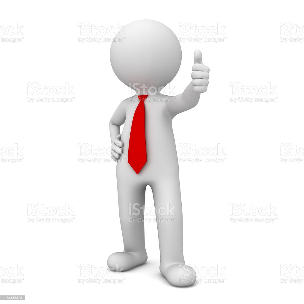 3d business man showing thumbs up stock photo