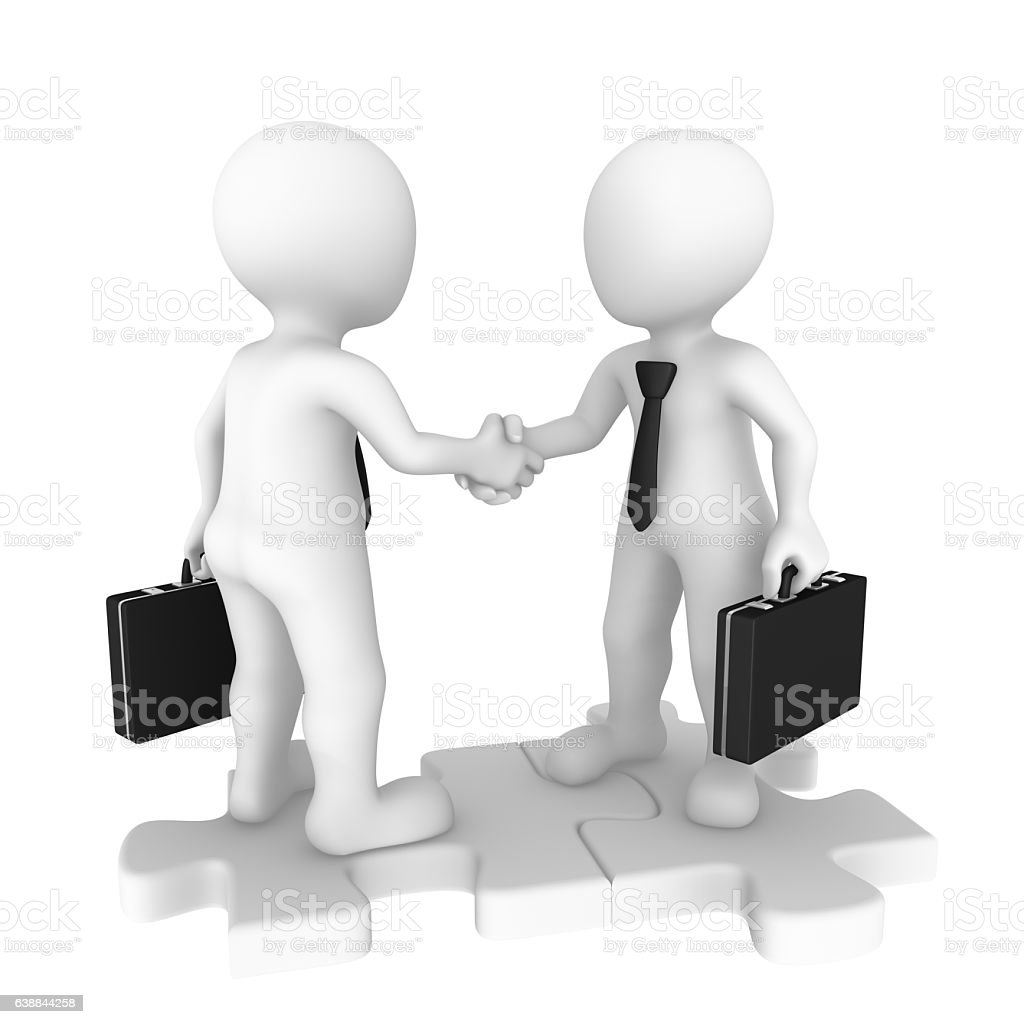 3d business people on puzzle pieces shaking hands – Foto