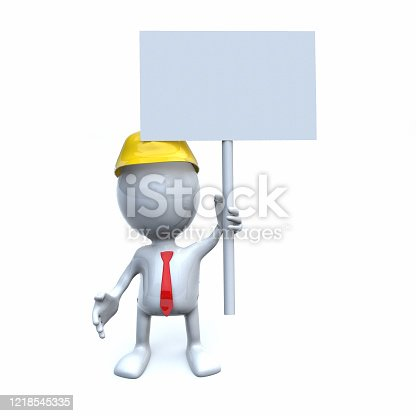 istock 3d business stickman and banner 1218545335