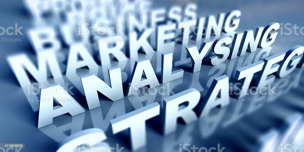 3d Business text table and analysing royalty-free stock photo