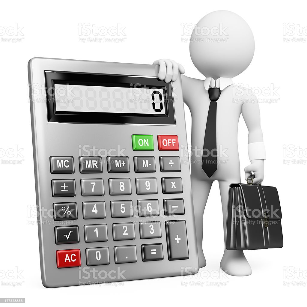 3d business white people. Businessman with calculator. royalty-free stock photo