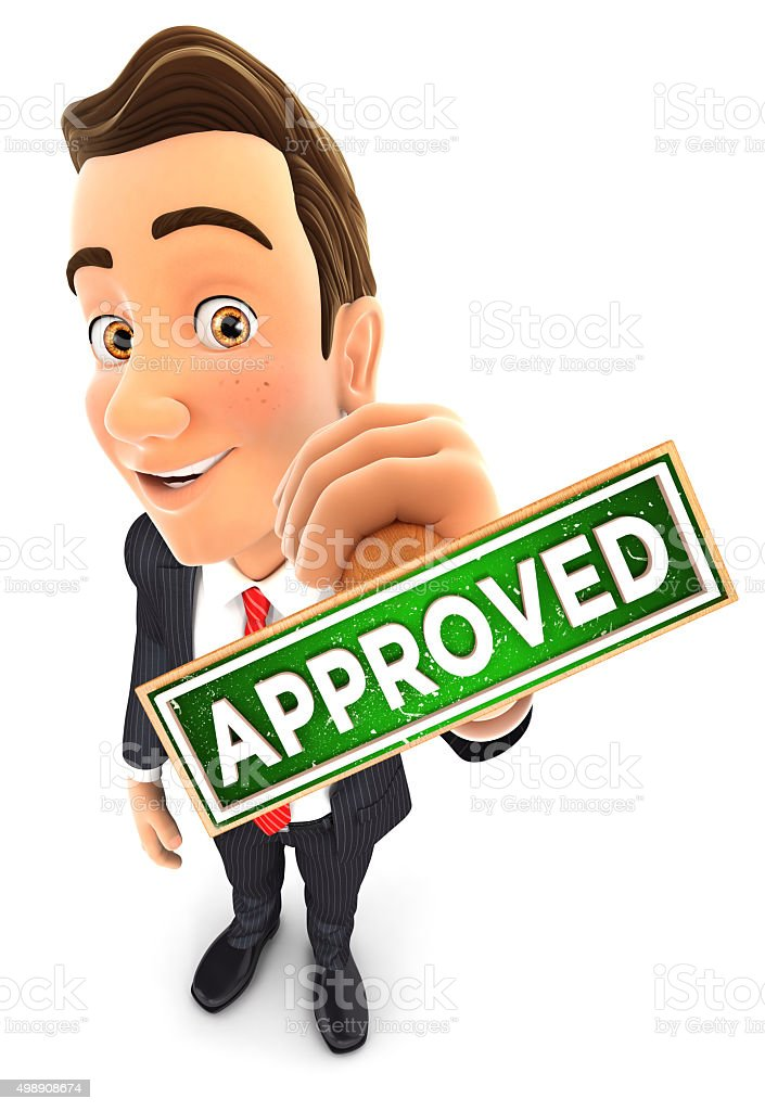 3d businessman approved stamp stock photo