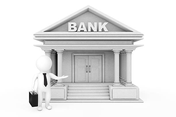 3d businessman characters inviting in bank building. 3d renderin - depositor stock pictures, royalty-free photos & images