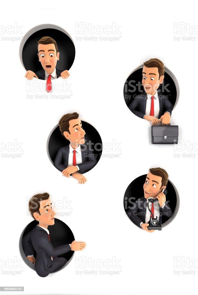 3d businessman coming through circular holes in wall stock photo