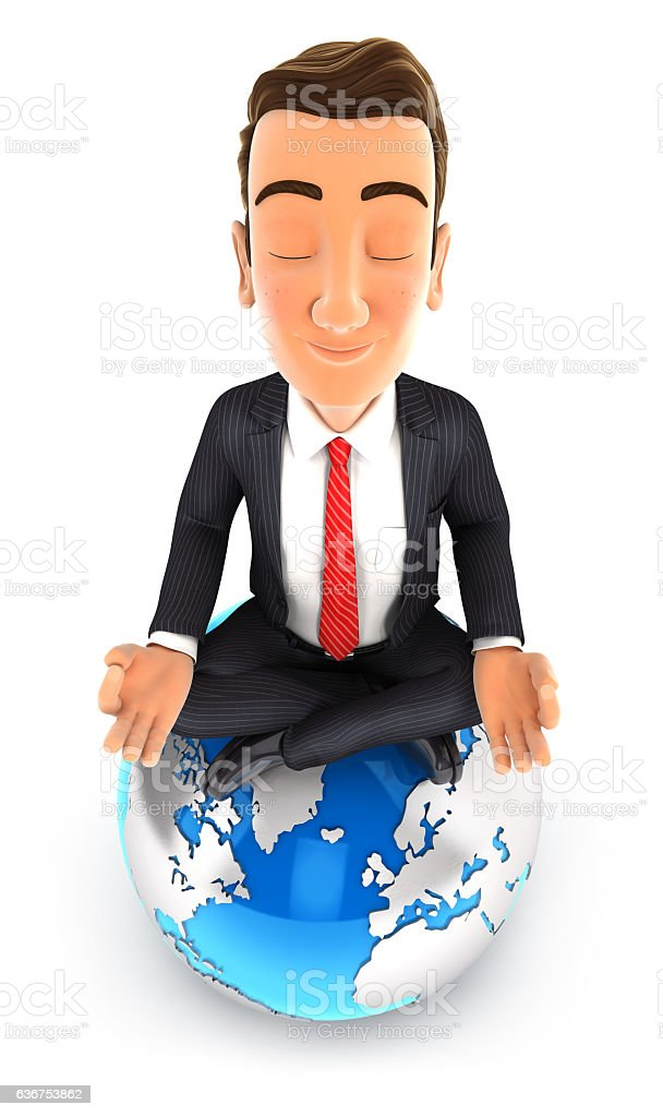 3d businessman doing yoga on top of the earth stock photo