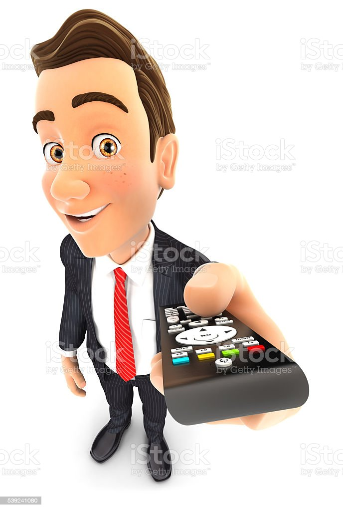 3 d hombre de negocios sosteniendo un televisor con controlar remoto foto de stock libre de derechos