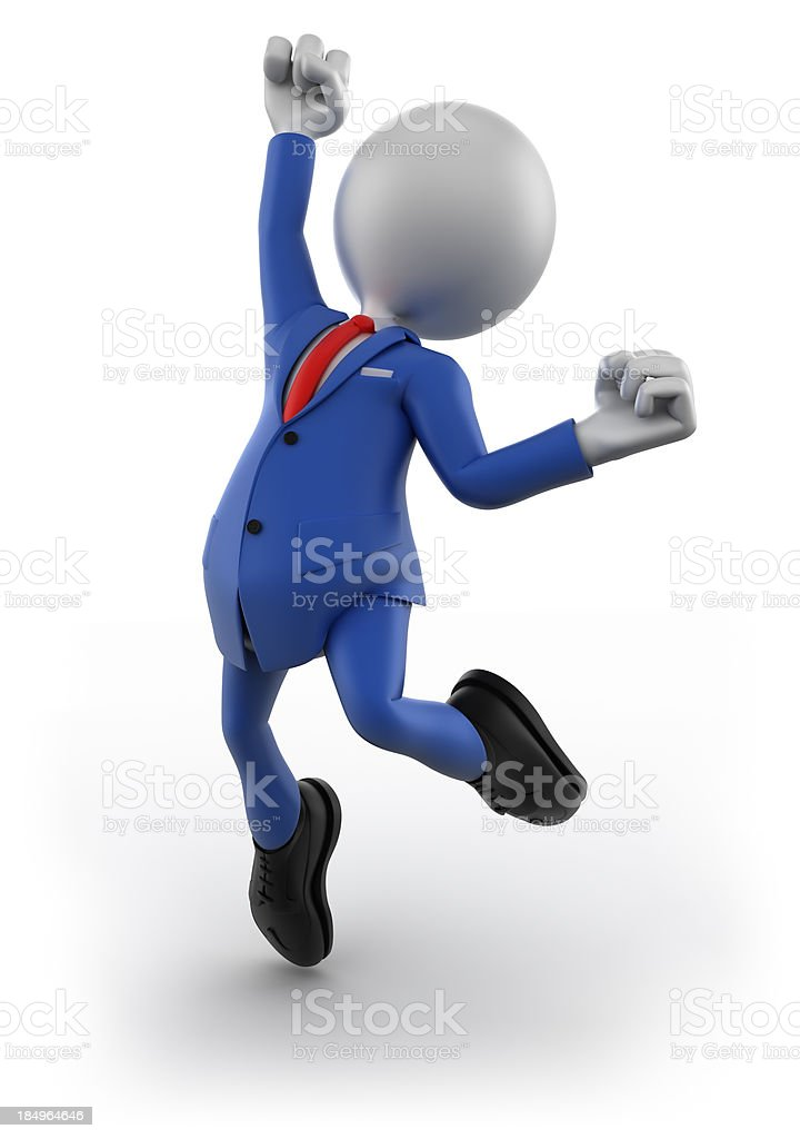 3d Businessman jumping, isolated on white royalty-free stock photo