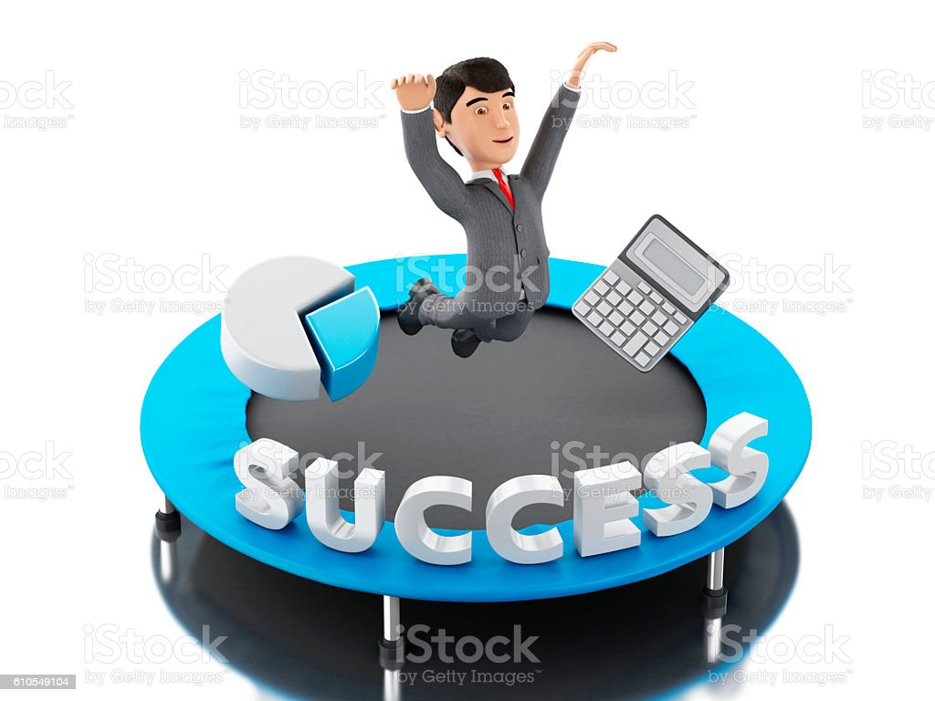 3d Businessman jumping on a trampoline with word success. stock photo