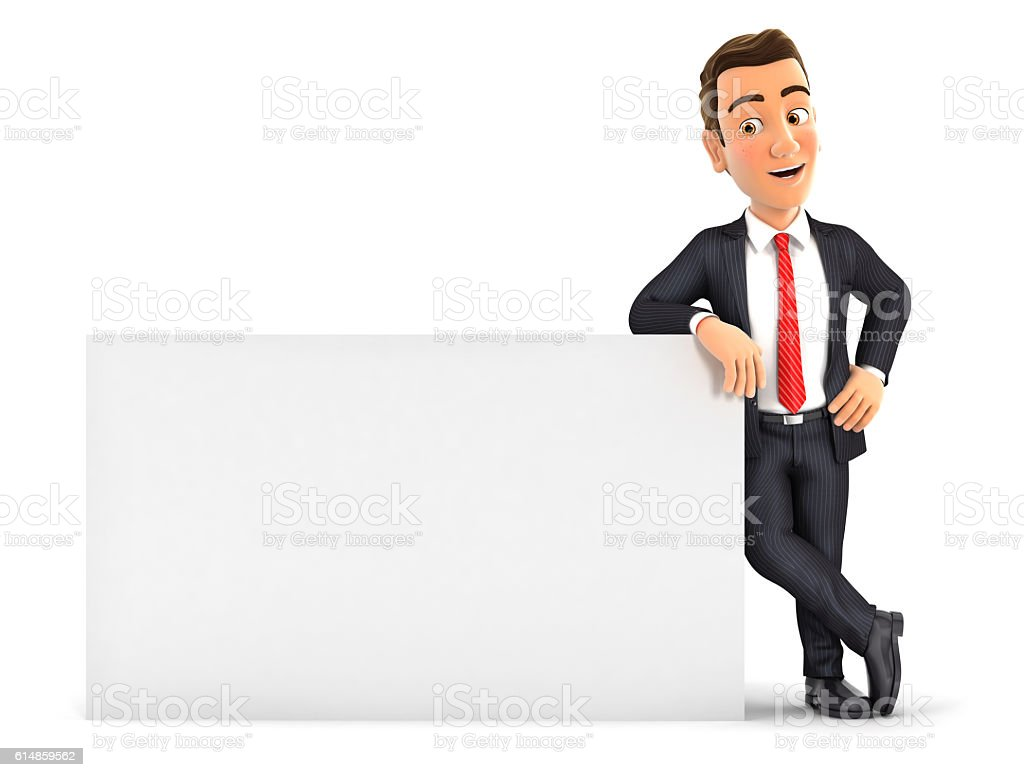 3d businessman leaning against white wall stock photo