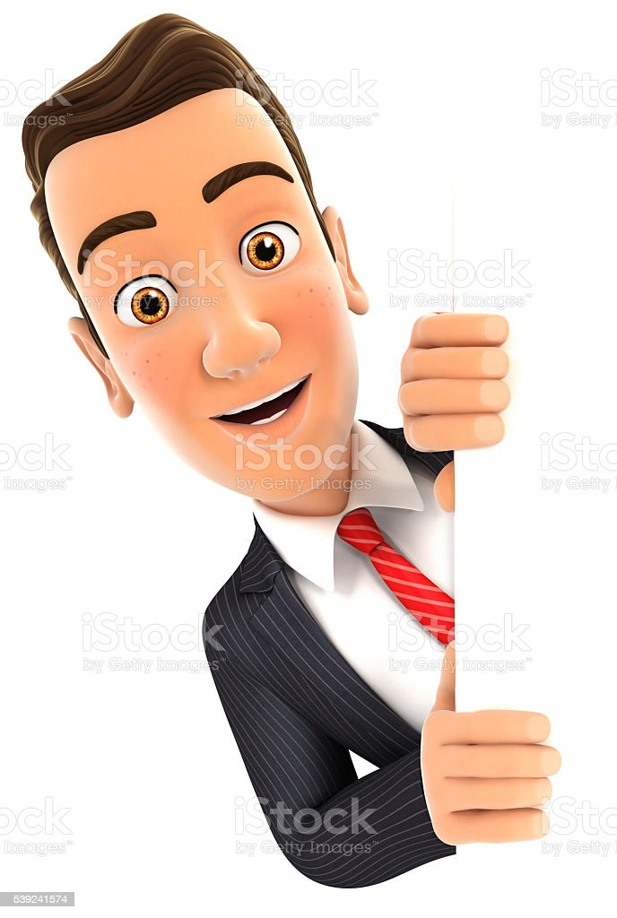 3d businessman peeping over blank wall royalty-free stock photo