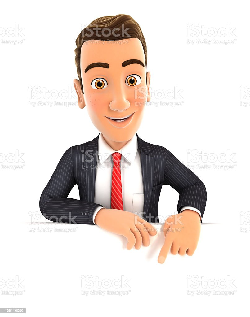 3d businessman pointing to empty wall stock photo
