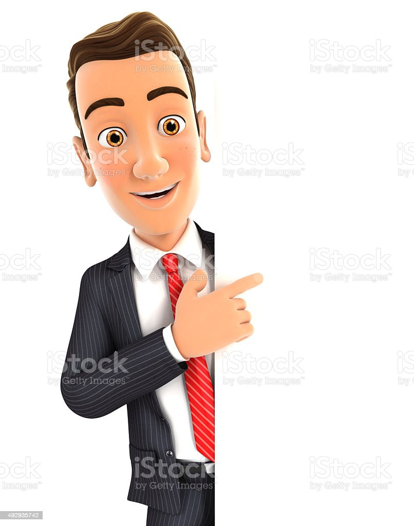 3d businessman pointing to right blank wall stok fotoğrafı