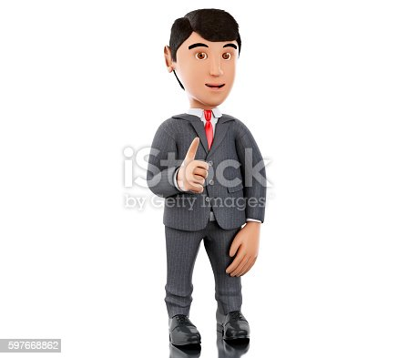 471353682istockphoto 3d Businessman showing thumbs up. Business concept. 597668862