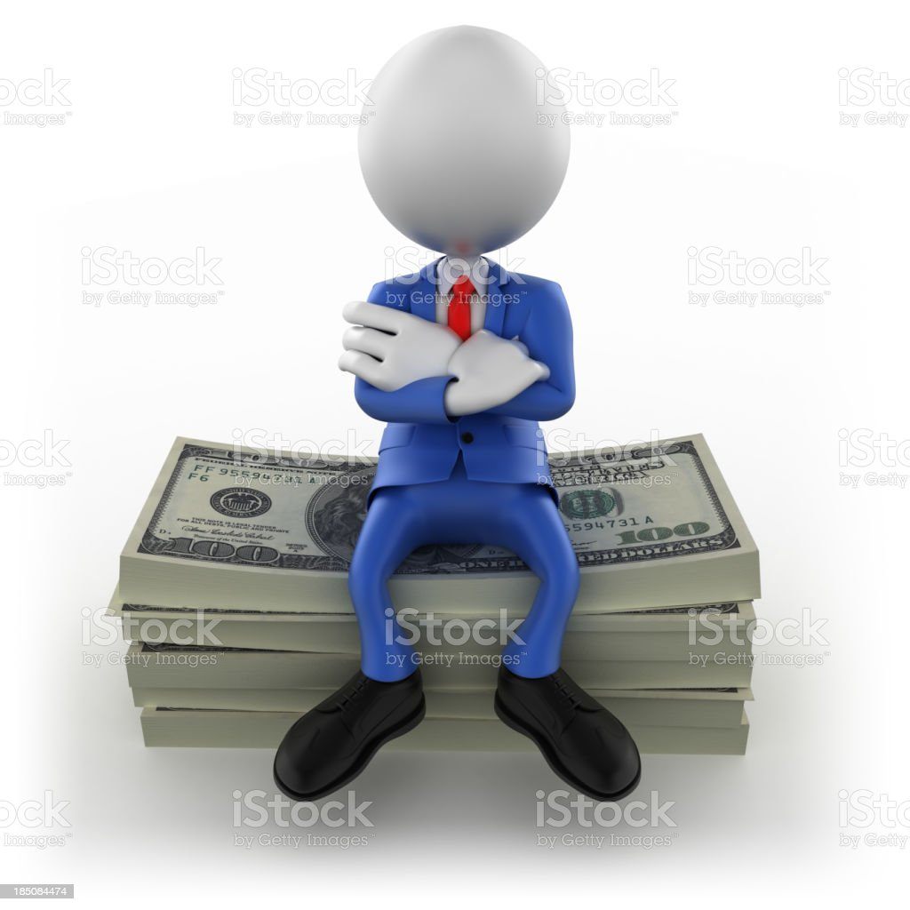 3d Businessman sitting on $100 bills, isolated/clipping path royalty-free stock photo