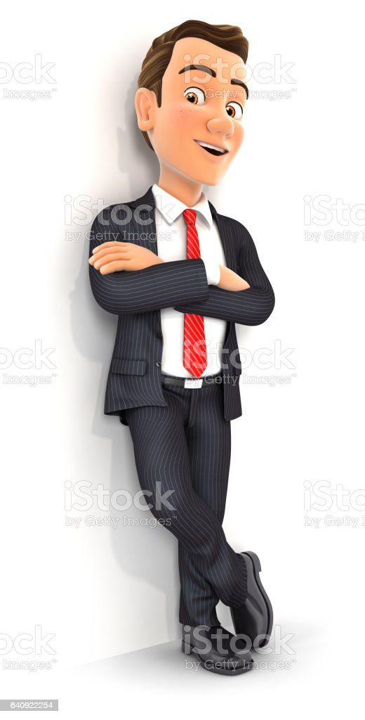 3d businessman standing against wall stock photo