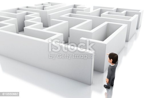 3d Illustration. Businessman standing in the entrance of a maze. Business and success challenge concept. Isolated white background.