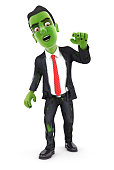 3d businessman turning into zombie, illustration with isolated white background