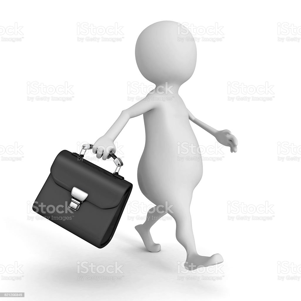 3d businessman walking with black leather briefcase stock photo