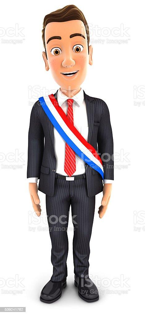 3 d hombre de negocios usando cinta alcaldía francesa foto de stock libre de derechos