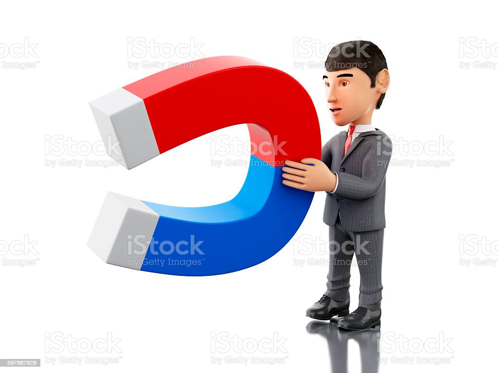 3d Businessman with a magnet. Business concept. stock photo