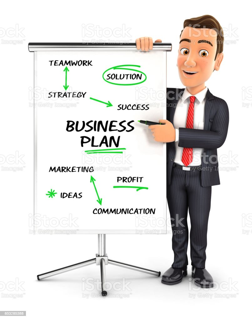 3d businessman writing business plan on paperboard stock photo