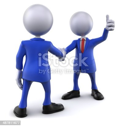 471353682istockphoto 3d businessmen shaking hands, thumbs up, isolated with clipping path 487811677