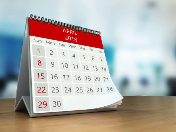 3d calendar on table stock photo