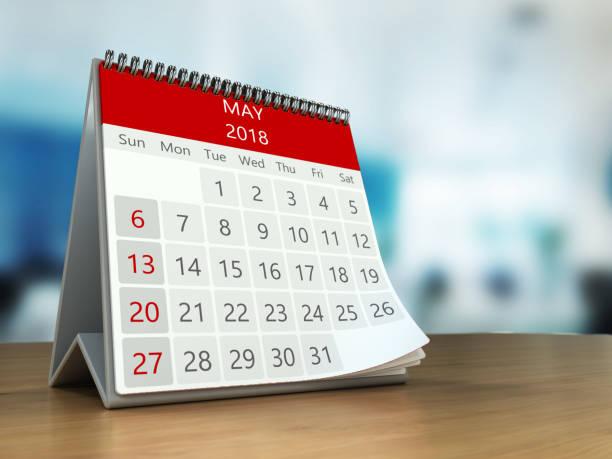 3d calendar on table stock photo