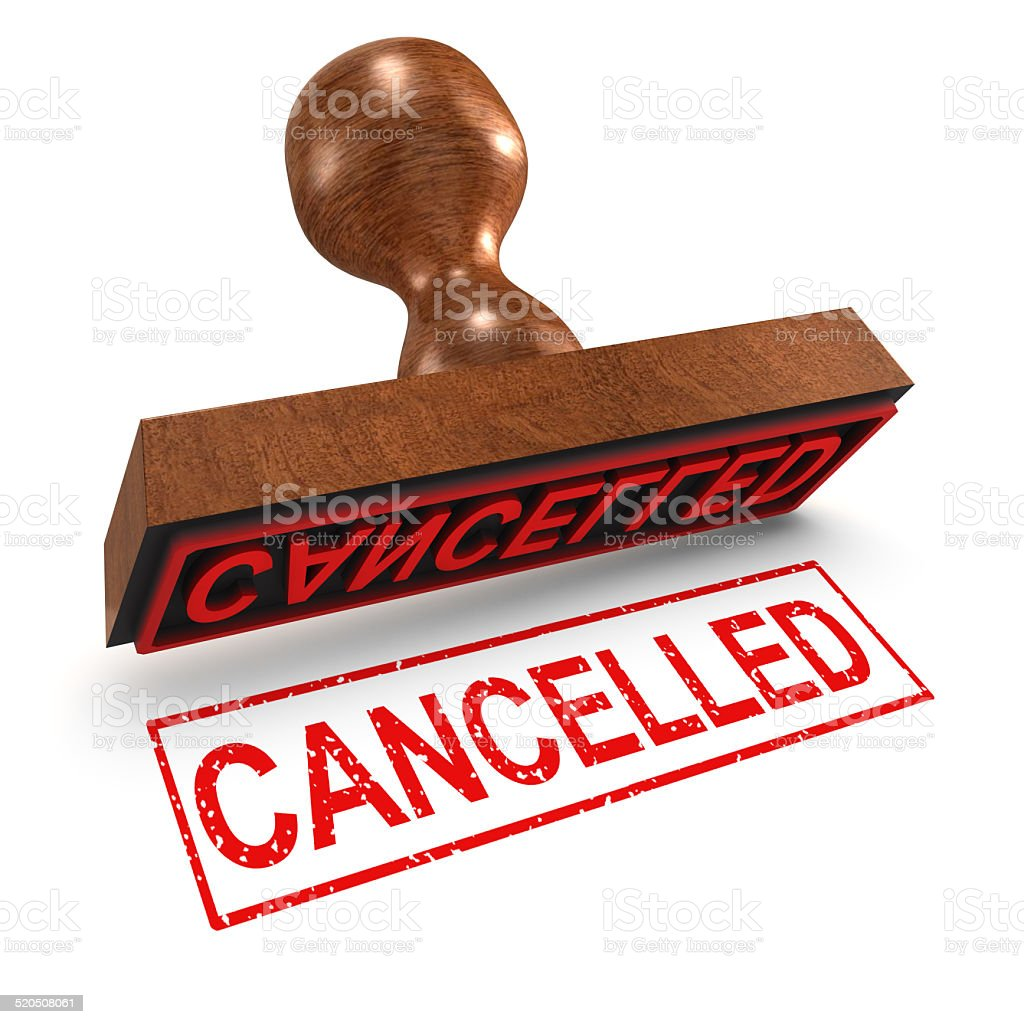 3d Cancelled rubber stamp stock photo