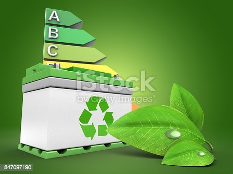 istock 3d car battery with energy rating 847097190
