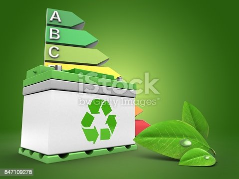 istock 3d car battery with energy rating 847109278