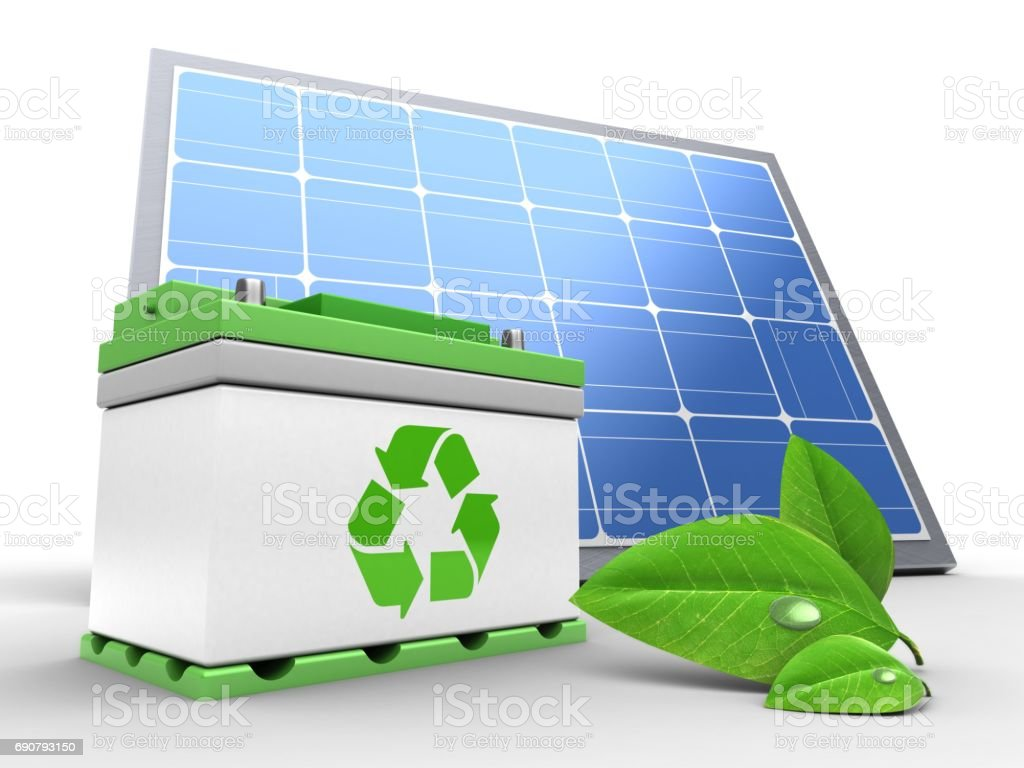 3d car battery with solar panel stock photo