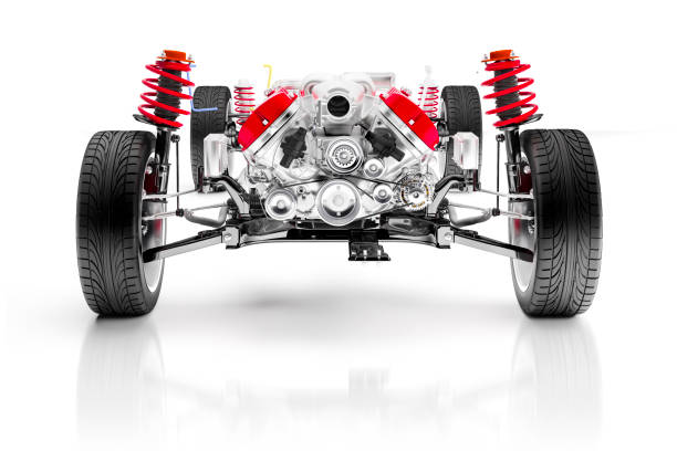 3d car chassis with motor, wheels and suspension, on white background stock photo