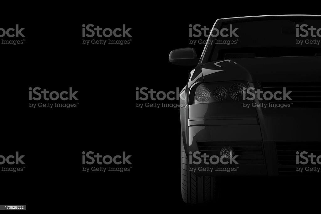 3 d coche Silueta en fondo negro foto de stock libre de derechos