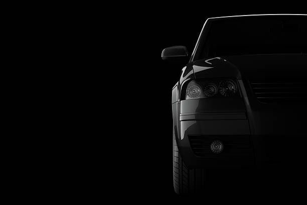 3d car silhouette on black background stock photo