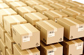 istock 3d cardboard boxes float in the air,The concept of express logistics. 984850626