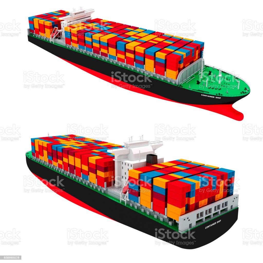 3d cargo container ship on white background stock photo
