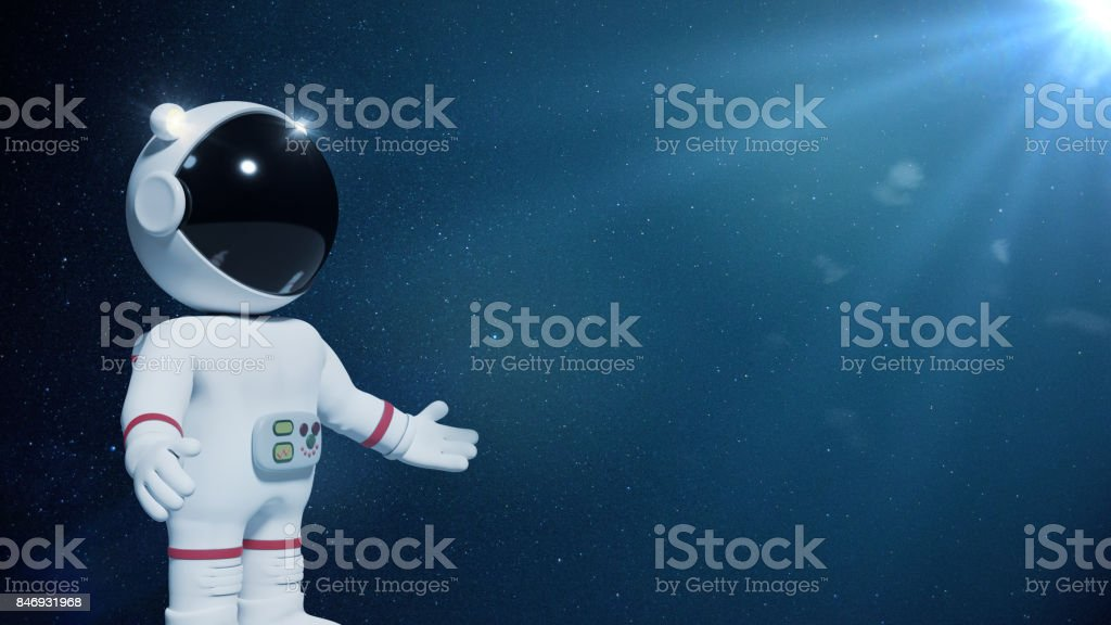 3d cartoon astronaut character presenting an empty space lit by the Sun and the stars stock photo